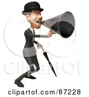 Royalty Free RF Clipart Illustration Of A 3d White Corporate Businessman Character Using A Megaphone Version 2 by Julos