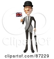 3d English Businessman With An Umbrella And Union Jack Flag - Version 2