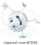 Royalty Free RF Clipart Illustration Of A 3d Golf Ball Character Standing On One Hand