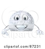 Royalty Free RF Clipart Illustration Of A 3d Golf Ball Character Pointing Down At A Blank Sign