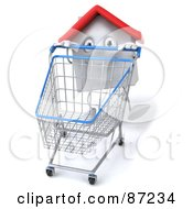 Royalty Free RF Clipart Illustration Of A 3d White Clay Home Character Pushing A Shopping Cart Version 2