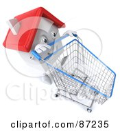 Royalty Free RF Clipart Illustration Of A 3d White Clay Home Character Pushing A Shopping Cart Version 1 by Julos