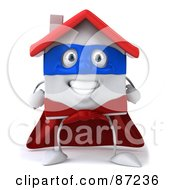 Royalty Free RF Clipart Illustration Of A 3d White Clay Home Character With A Superhero Cape