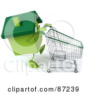 Royalty Free RF Clipart Illustration Of A 3d Green Clay Home Character Pushing A Cart