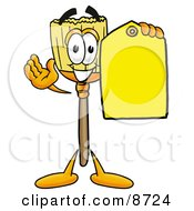 Broom Mascot Cartoon Character Holding A Yellow Sales Price Tag