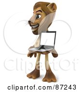 Royalty Free RF Clipart Illustration Of A 3d Lion Character Facing Left And Presenting A Laptop