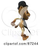 Royalty Free RF Clipart Illustration Of A 3d Lion Character Englishman Walking