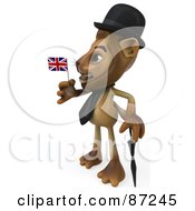 Royalty Free RF Clipart Illustration Of A 3d Lion Character Wearing A Hat And Holding A Union Jack Flag Version 2