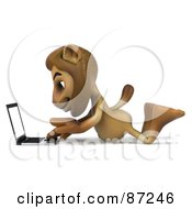 Royalty Free RF Clipart Illustration Of A 3d Lion Character Using A Laptop On The Floor