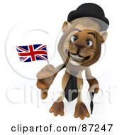 Royalty Free RF Clipart Illustration Of A 3d Lion Character Wearing A Hat And Holding A Union Jack Flag Version 1