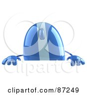 Royalty Free RF Clipart Illustration Of A 3d Blue Computer Mouse Character Looking Over A Blank Sign by Julos