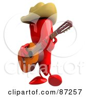 3d Red Chili Pepper Character Facing Left And Playing Country Music
