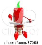 Royalty Free RF Clipart Illustration Of A 3d Red Chili Pepper Character Giving The Thumbs Down And Reading On A Toilet by Julos