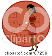 Royalty Free RF Clipart Illustration Of An Indian Waitress Woman Standing By A Red Circle With A Table by Rosie Piter