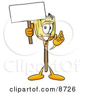 Clipart Picture Of A Broom Mascot Cartoon Character Holding A Blank Sign