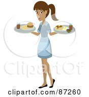 Hispanic Waitress Woman Serving A Burger And Pancakes And Eggs