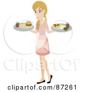 Blond Waitress Woman Serving A Burger And Pancakes And Eggs