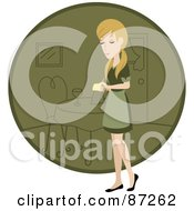 Blond Waitress Woman Standing By A Green Circle With A Table