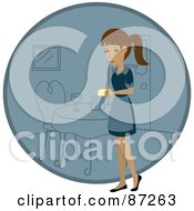 Royalty Free RF Clipart Illustration Of A Hispanic Waitress Woman Standing By A Blue Circle With A Table by Rosie Piter