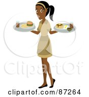 Royalty Free RF Clipart Illustration Of An Indian Waitress Woman Serving A Burger And Pancakes And Eggs by Rosie Piter