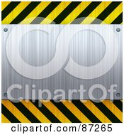 Royalty Free RF Clipart Illustration Of A Blank Brushed Metal Plaque Bordered With Black And Yellow Hazard Stripes