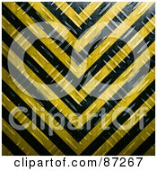 Royalty Free RF Clipart Illustration Of A Black And Yellow Diamond Plate Hazard Stripes Background by Arena Creative