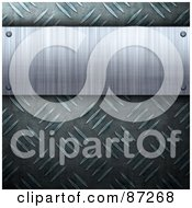 Royalty Free RF Clipart Illustration Of A Brushed Metal Plaque Over A Diamond Plate Background