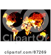 Royalty Free RF Clipart Illustration Of A Flaming Atlas Map Over Black