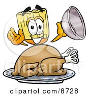Clipart Picture Of A Broom Mascot Cartoon Character Serving A Thanksgiving Turkey On A Platter by Toons4Biz