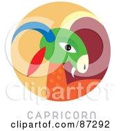 Royalty Free RF Clipart Illustration Of A Circular Capricorn Astrology Scene