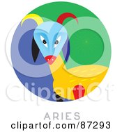 Royalty Free RF Clipart Illustration Of A Circular Aries Astrology Scene