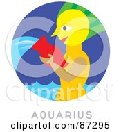 Royalty Free RF Clipart Illustration Of A Circular Aquarius Astrology Scene