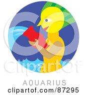 Royalty Free RF Clipart Illustration Of A Circular Aquarius Astrology Scene