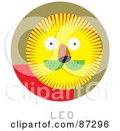 Royalty Free RF Clipart Illustration Of A Circular Leo Astrology Scene