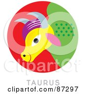 Royalty Free RF Clipart Illustration Of A Circular Taurus Astrology Scene by Venki Art