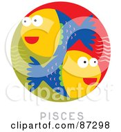 Royalty Free RF Clipart Illustration Of A Circular Pisces Astrology Scene