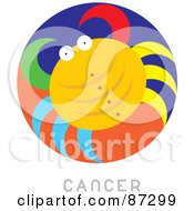Royalty Free RF Clipart Illustration Of A Circular Cancer Astrology Scene