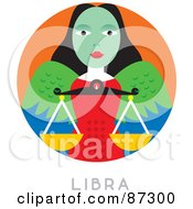 Royalty Free RF Clipart Illustration Of A Circular Libra Astrology Scene