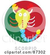 Royalty Free RF Clipart Illustration Of A Circular Scorpio Astrology Scene