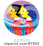 Royalty Free RF Clipart Illustration Of A Circular Gemini Astrology Scene