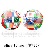 Royalty Free RF Clipart Illustration Of A Digital Collage Of Floating Shiny Globe Of International Flags Version 2