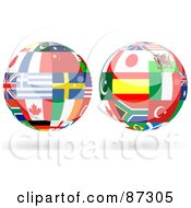 Royalty Free RF Clipart Illustration Of A Digital Collage Of Floating Shiny Globe Of International Flags Version 1