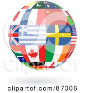 Royalty Free RF Clipart Illustration Of A Floating Shiny Globe Of Greece Sweden Canada And Other Flags by elaineitalia