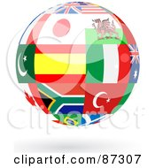 Royalty Free RF Clipart Illustration Of A Floating Shiny Globe Of International Flags Version 1 by elaineitalia