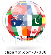 Royalty Free RF Clipart Illustration Of A Floating Shiny Globe Of International Flags Version 2 by elaineitalia