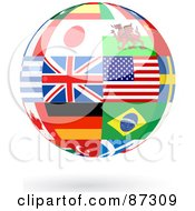 Floating Shiny Globe Of International Flags - Version 3