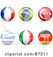 Royalty Free RF Clipart Illustration Of A Digital Collage Of Shiny 3d France Brazil Turkey Greece Italy And Germany Spheres