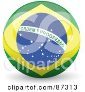 Royalty Free RF Clipart Illustration Of A Shiny 3d Brazil Sphere by elaineitalia