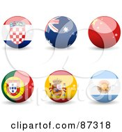 Royalty Free RF Clipart Illustration Of A Digital Collage Of Shiny 3d Croatia Australia China Portugal Spain And Argentina Spheres by elaineitalia