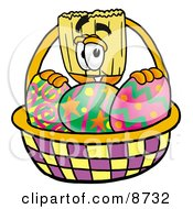 Broom Mascot Cartoon Character In An Easter Basket Full Of Decorated Easter Eggs by Toons4Biz